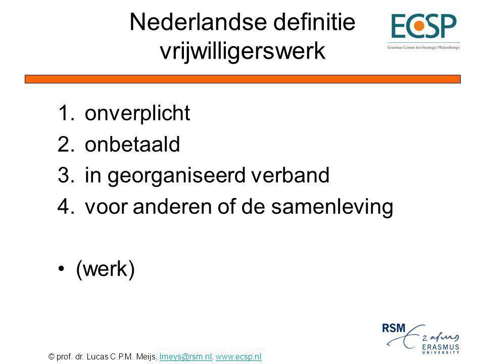 © prof. dr. Lucas C.P.M. Meijs, lmeys@rsm.nl. www.ecsp.nllmeys@rsm.nlwww.ecsp.nl Nederlandse definitie vrijwilligerswerk 1.onverplicht 2.onbetaald 3.i