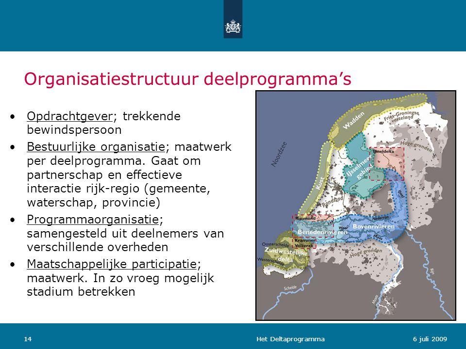 Het Deltaprogramma146 juli 2009 Organisatiestructuur deelprogramma's Opdrachtgever; trekkende bewindspersoon Bestuurlijke organisatie; maatwerk per de