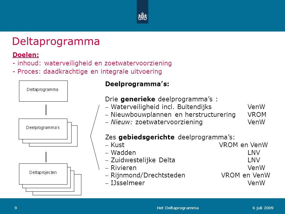 Het Deltaprogramma96 juli 2009 Deelprogramma's: Drie generieke deelprogramma's :  Waterveiligheid incl. BuitendijksVenW  Nieuwbouwplannen en herstru
