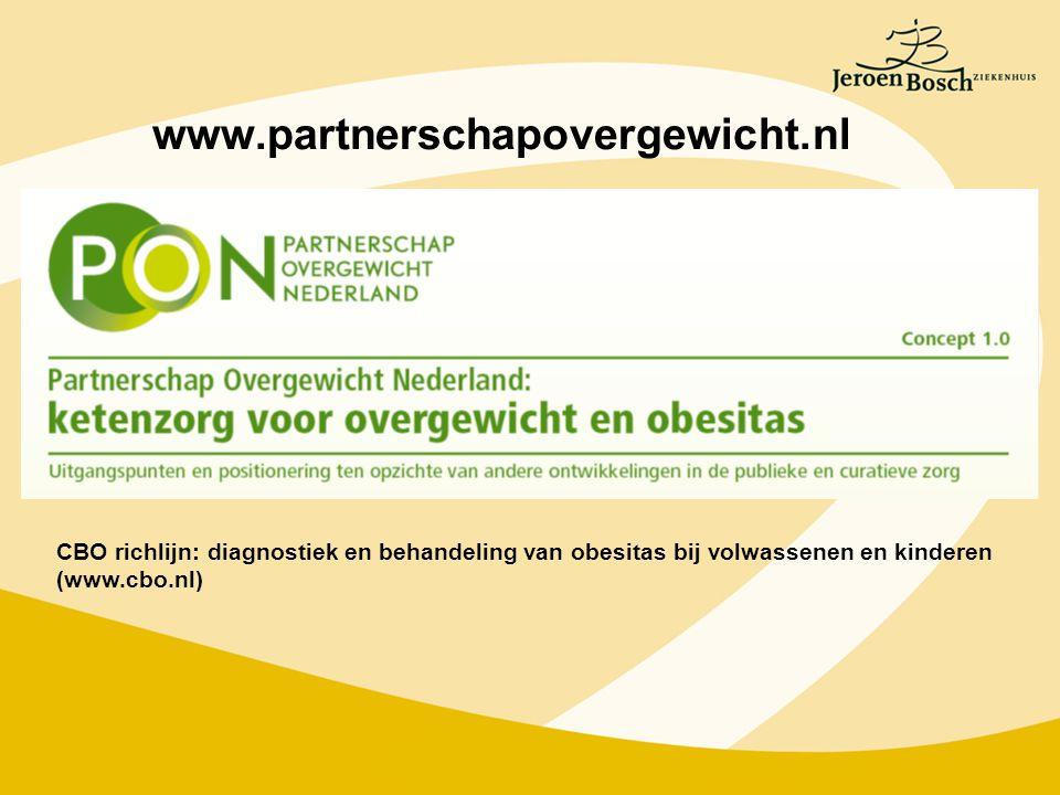 www.partnerschapovergewicht.nl CBO richlijn: diagnostiek en behandeling van obesitas bij volwassenen en kinderen (www.cbo.nl)