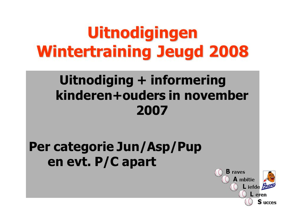 Uitnodigingen Wintertraining Jeugd 2008 Uitnodiging + informering kinderen+ouders in november 2007 Per categorie Jun/Asp/Pup en evt.
