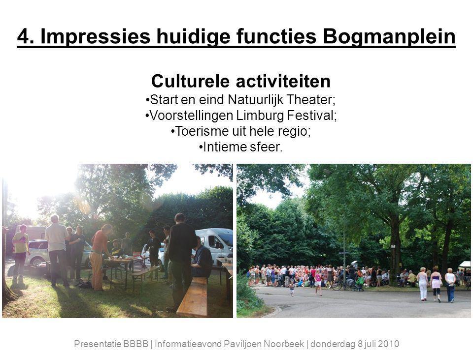 Culturele activiteiten Start en eind Natuurlijk Theater; Voorstellingen Limburg Festival; Toerisme uit hele regio; Intieme sfeer.