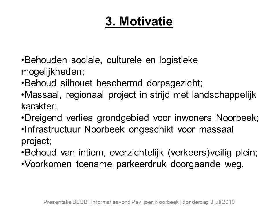 3. Motivatie Behouden sociale, culturele en logistieke mogelijkheden; Behoud silhouet beschermd dorpsgezicht; Massaal, regionaal project in strijd met