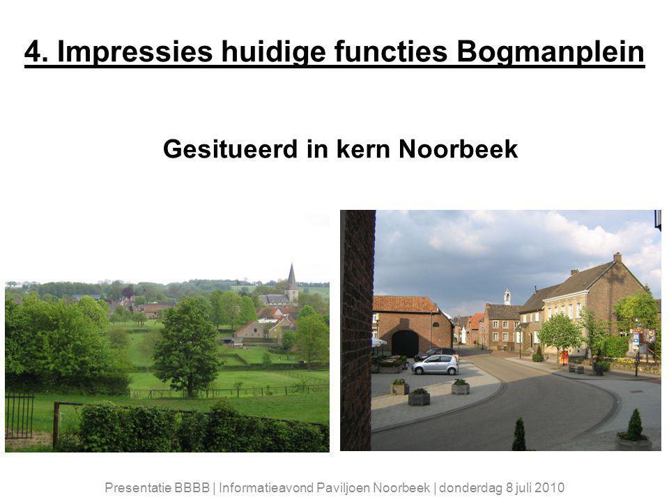 4. Impressies huidige functies Bogmanplein Gesitueerd in kern Noorbeek Presentatie BBBB | Informatieavond Paviljoen Noorbeek | donderdag 8 juli 2010