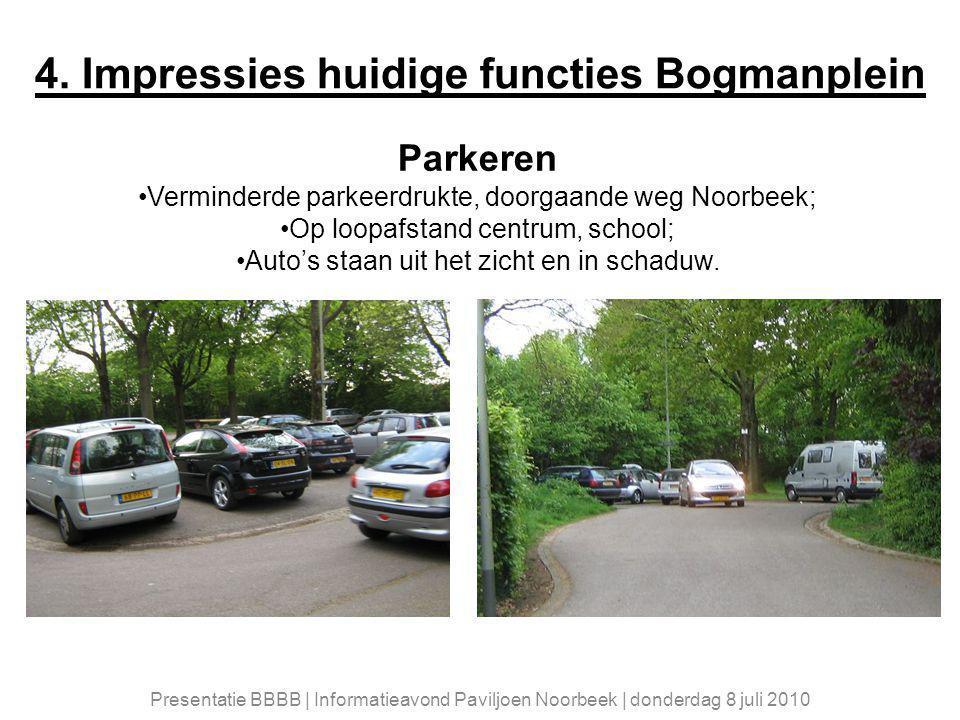 4. Impressies huidige functies Bogmanplein Parkeren Verminderde parkeerdrukte, doorgaande weg Noorbeek; Op loopafstand centrum, school; Auto's staan u