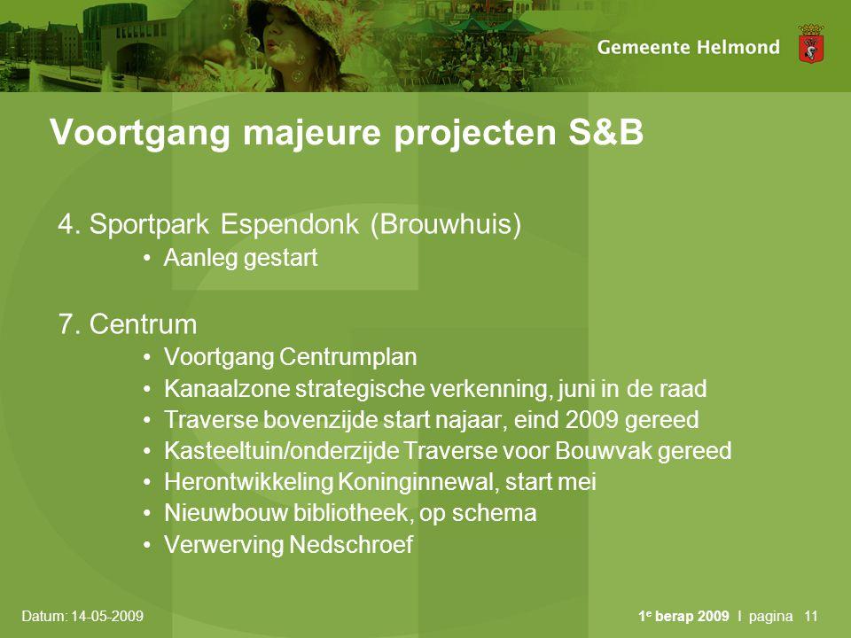 Datum: 14-05-2009 1 e berap 2009 I pagina11 Voortgang majeure projecten S&B 4. Sportpark Espendonk (Brouwhuis) Aanleg gestart 7. Centrum Voortgang Cen