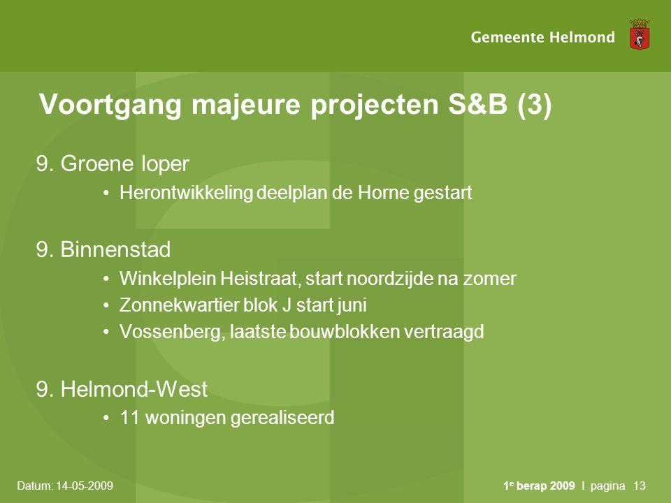 Datum: 14-05-2009 1 e berap 2009 I pagina13 Voortgang majeure projecten S&B (3) 9. Groene loper Herontwikkeling deelplan de Horne gestart 9. Binnensta