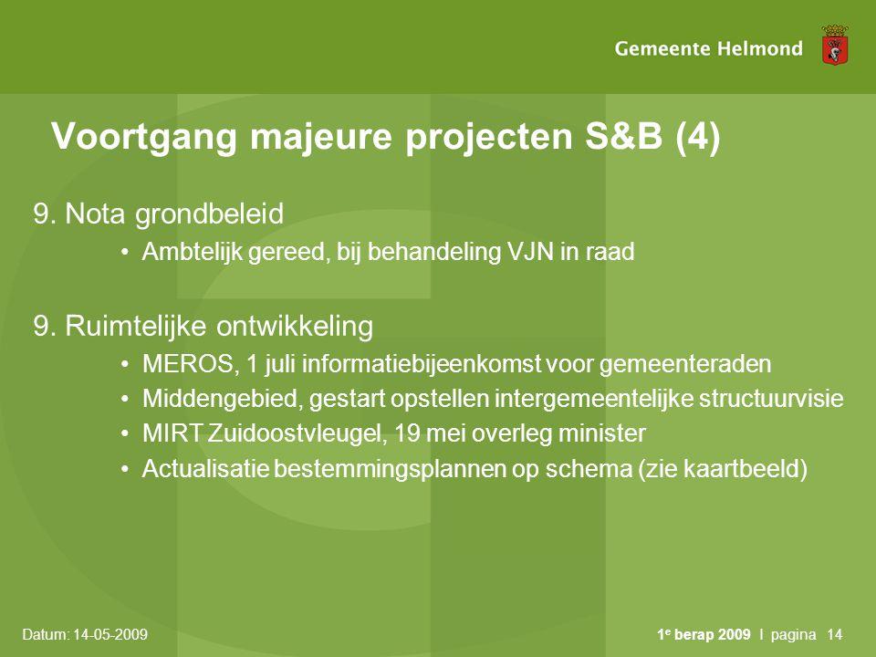 Datum: 14-05-2009 1 e berap 2009 I pagina14 Voortgang majeure projecten S&B (4) 9. Nota grondbeleid Ambtelijk gereed, bij behandeling VJN in raad 9. R