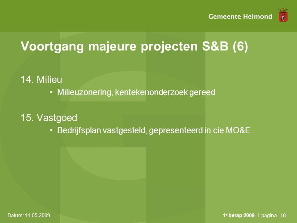Datum: 14-05-2009 1 e berap 2009 I pagina18 Voortgang majeure projecten S&B (6) 14.
