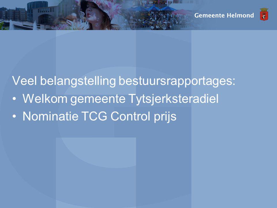 Veel belangstelling bestuursrapportages: Welkom gemeente Tytsjerksteradiel Nominatie TCG Control prijs