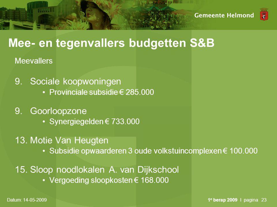 Datum: 14-05-2009 1 e berap 2009 I pagina23 Mee- en tegenvallers budgetten S&B Meevallers 9. Sociale koopwoningen Provinciale subsidie € 285.000 9. Go
