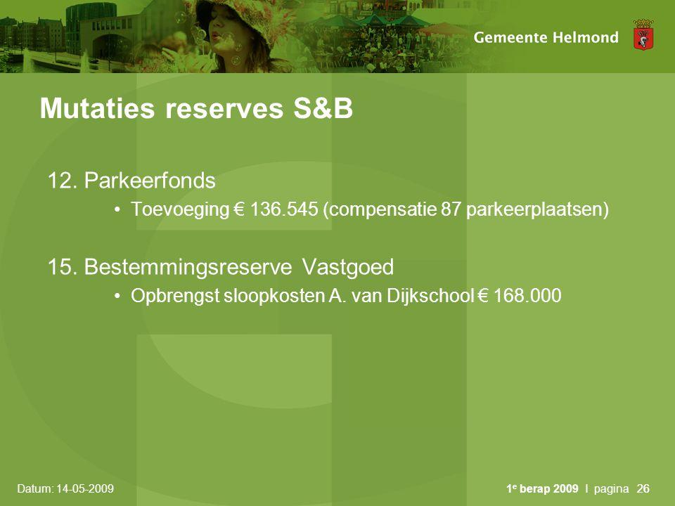 Datum: 14-05-2009 1 e berap 2009 I pagina26 Mutaties reserves S&B 12. Parkeerfonds Toevoeging € 136.545 (compensatie 87 parkeerplaatsen) 15. Bestemmin