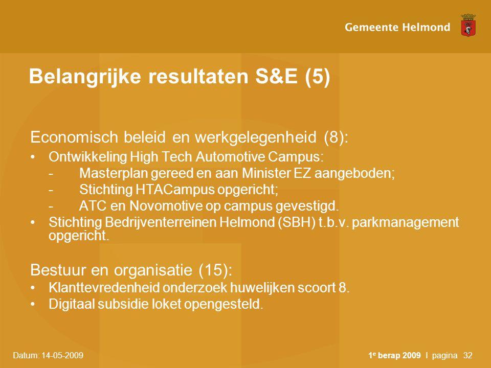 Datum: 14-05-2009 1 e berap 2009 I pagina32 Belangrijke resultaten S&E (5) Economisch beleid en werkgelegenheid (8): Ontwikkeling High Tech Automotive
