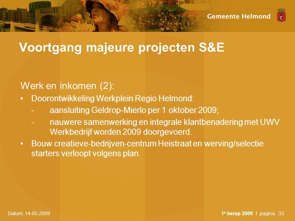 Datum: 14-05-2009 1 e berap 2009 I pagina33 Voortgang majeure projecten S&E Werk en inkomen (2): Doorontwikkeling Werkplein Regio Helmond: -aansluitin