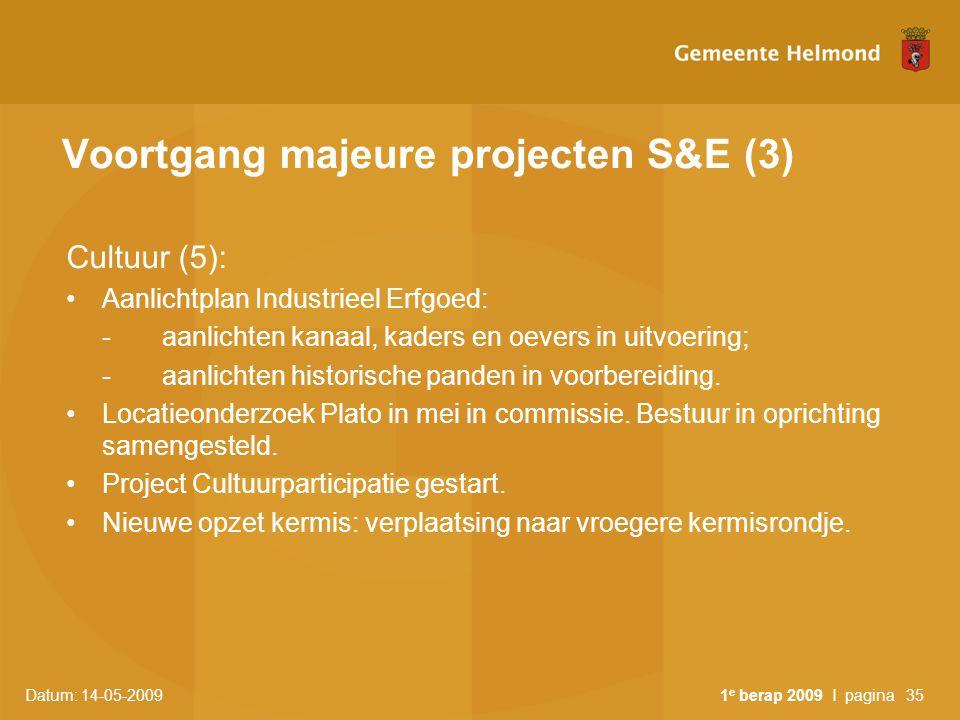 Datum: 14-05-2009 1 e berap 2009 I pagina35 Voortgang majeure projecten S&E (3) Cultuur (5): Aanlichtplan Industrieel Erfgoed: -aanlichten kanaal, kad