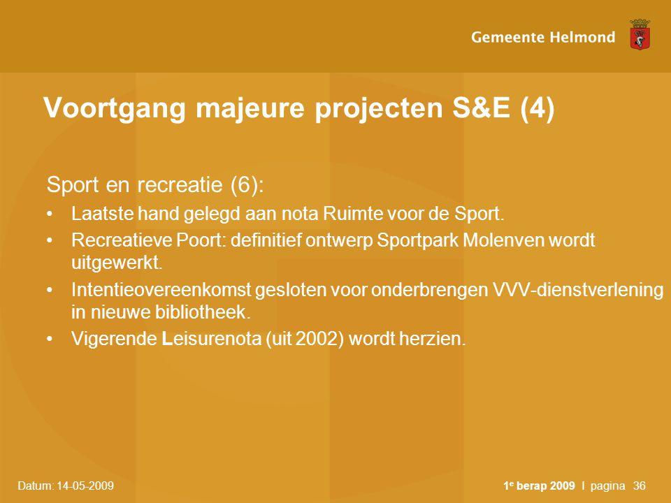 Datum: 14-05-2009 1 e berap 2009 I pagina36 Voortgang majeure projecten S&E (4) Sport en recreatie (6): Laatste hand gelegd aan nota Ruimte voor de Sp