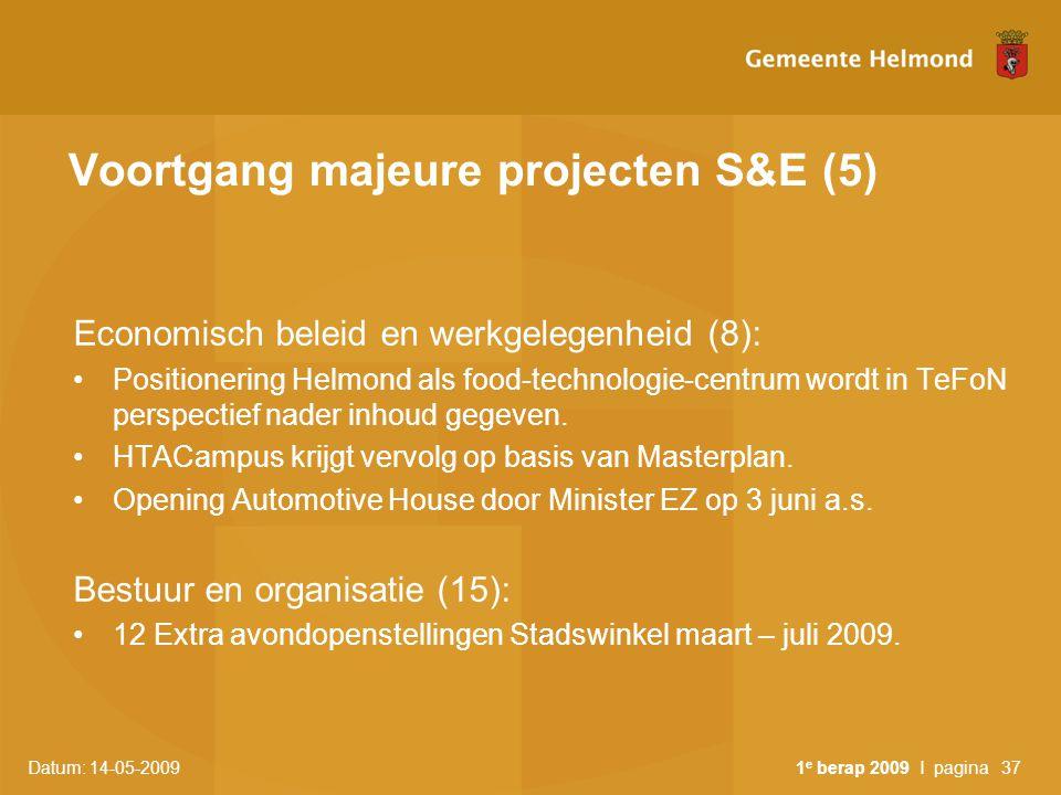 Datum: 14-05-2009 1 e berap 2009 I pagina37 Voortgang majeure projecten S&E (5) Economisch beleid en werkgelegenheid (8): Positionering Helmond als fo