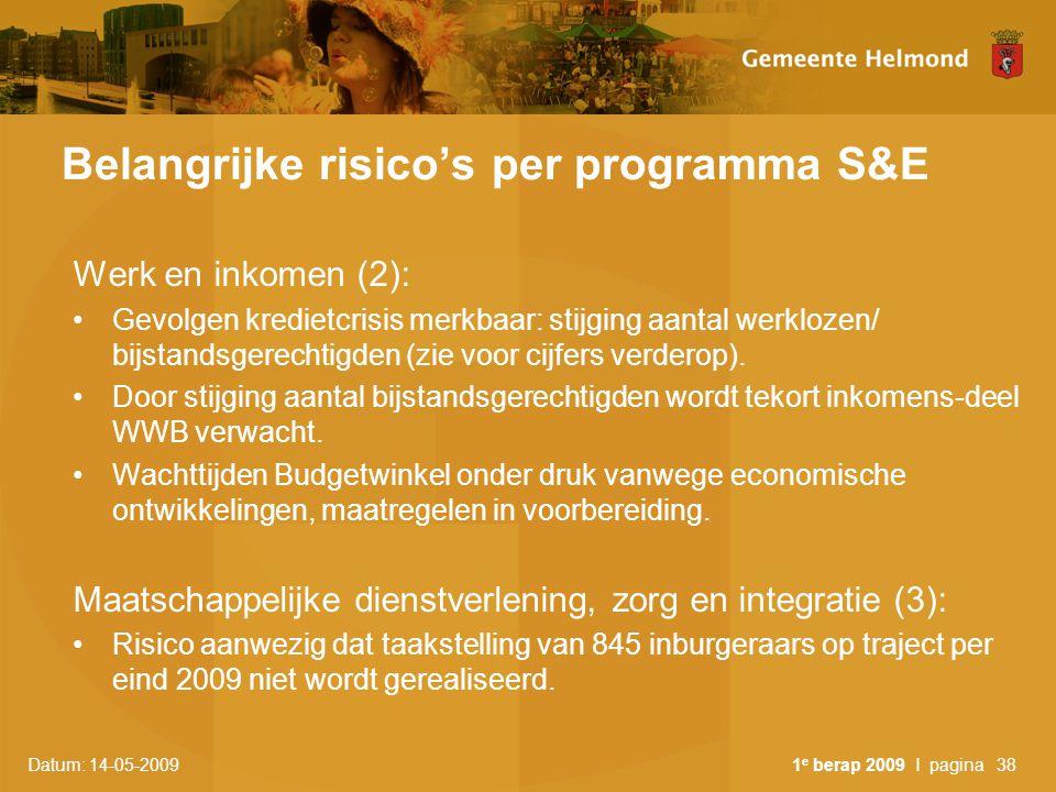 Datum: 14-05-2009 1 e berap 2009 I pagina38 Belangrijke risico's per programma S&E Werk en inkomen (2): Gevolgen kredietcrisis merkbaar: stijging aant