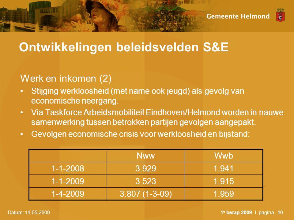 Datum: 14-05-2009 1 e berap 2009 I pagina40 Ontwikkelingen beleidsvelden S&E Werk en inkomen (2) Stijging werkloosheid (met name ook jeugd) als gevolg