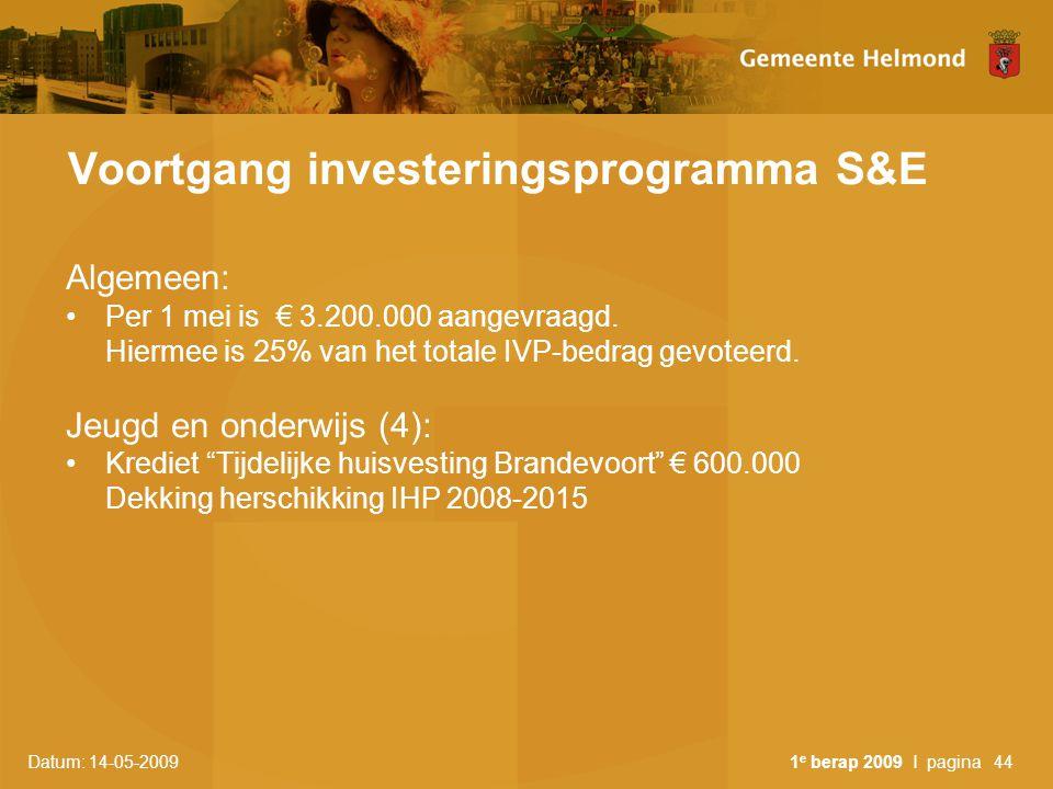 Datum: 14-05-2009 1 e berap 2009 I pagina44 Voortgang investeringsprogramma S&E Algemeen: Per 1 mei is € 3.200.000 aangevraagd. Hiermee is 25% van het