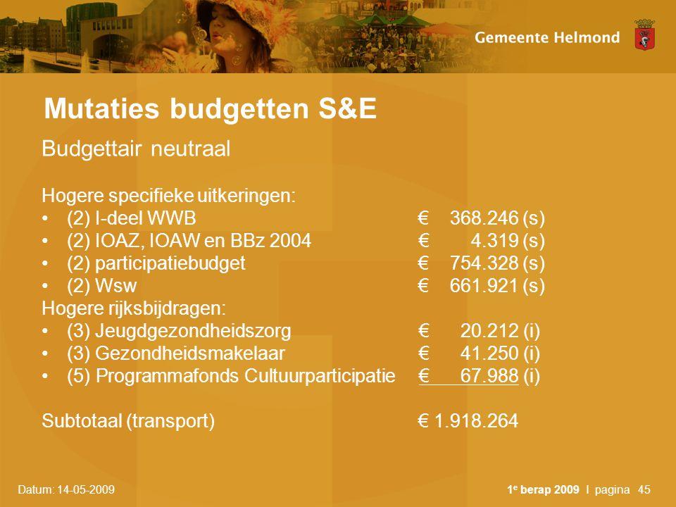 Datum: 14-05-2009 1 e berap 2009 I pagina45 Mutaties budgetten S&E Budgettair neutraal Hogere specifieke uitkeringen: (2) I-deel WWB € 368.246 (s) (2) IOAZ, IOAW en BBz 2004€ 4.319 (s) (2) participatiebudget € 754.328 (s) (2) Wsw€ 661.921 (s) Hogere rijksbijdragen: (3) Jeugdgezondheidszorg € 20.212 (i) (3) Gezondheidsmakelaar€ 41.250 (i) (5) Programmafonds Cultuurparticipatie€ 67.988 (i) Subtotaal (transport)€ 1.918.264