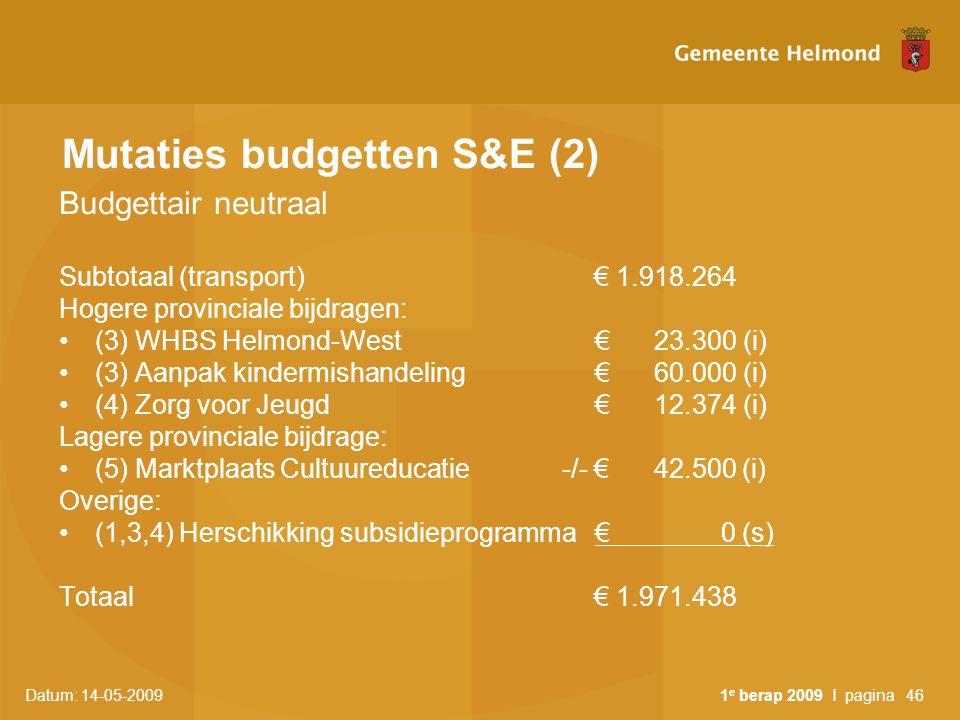 Datum: 14-05-2009 1 e berap 2009 I pagina46 Mutaties budgetten S&E (2) Budgettair neutraal Subtotaal (transport) € 1.918.264 Hogere provinciale bijdra
