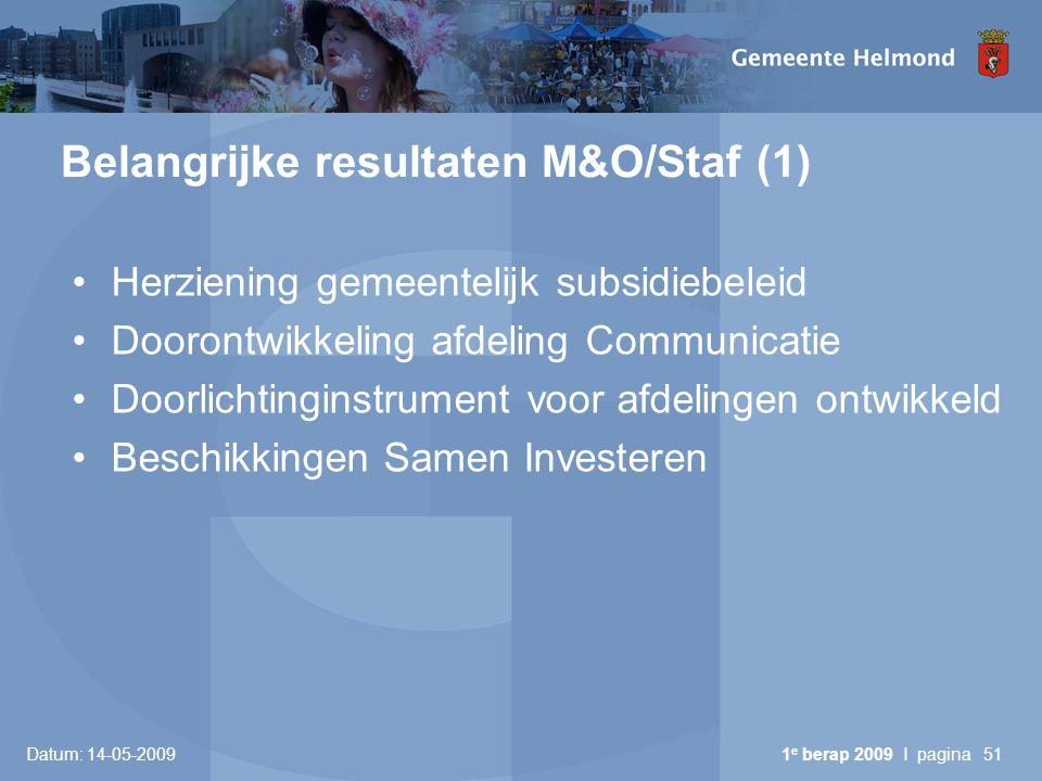 Datum: 14-05-2009 1 e berap 2009 I pagina51 Belangrijke resultaten M&O/Staf (1) Herziening gemeentelijk subsidiebeleid Doorontwikkeling afdeling Commu