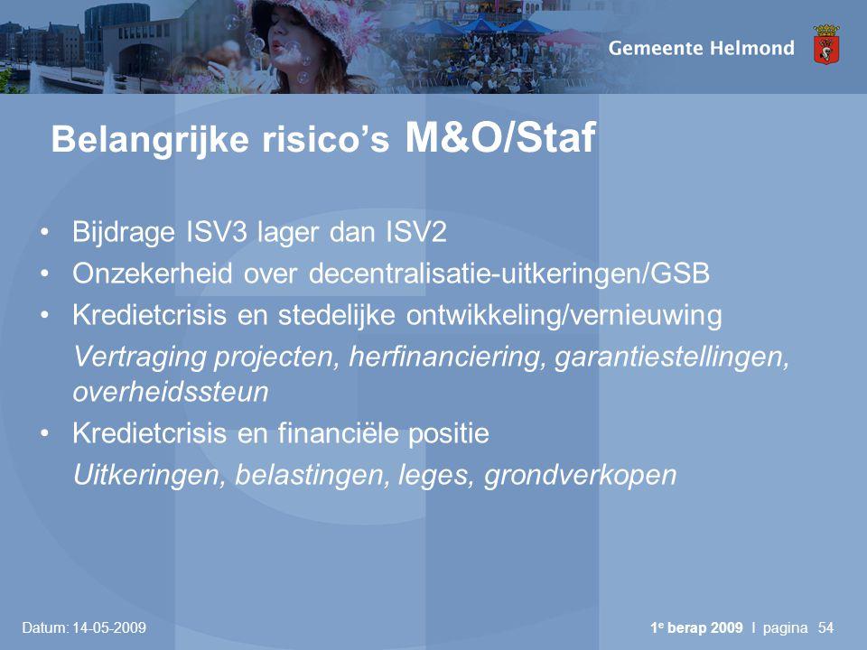 Datum: 14-05-2009 1 e berap 2009 I pagina54 Belangrijke risico's M&O/Staf Bijdrage ISV3 lager dan ISV2 Onzekerheid over decentralisatie-uitkeringen/GS