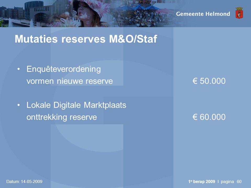 Datum: 14-05-2009 1 e berap 2009 I pagina60 Mutaties reserves M&O/Staf Enquêteverordening vormen nieuwe reserve€ 50.000 Lokale Digitale Marktplaats onttrekking reserve€ 60.000