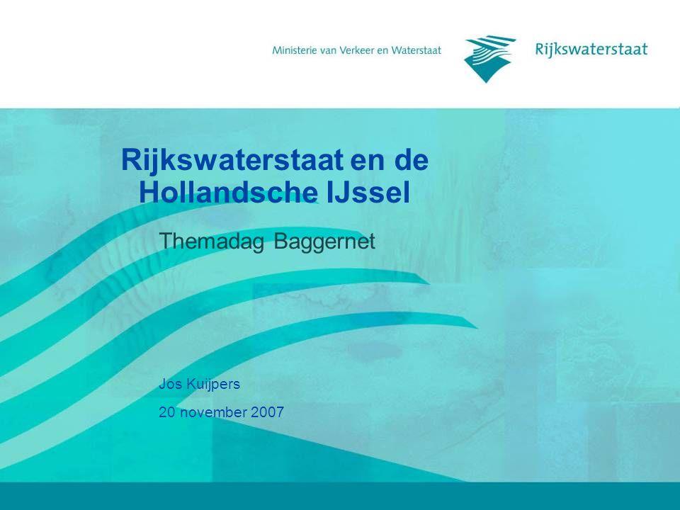 20 november 2007 Rijkswaterstaat en de Hollandsche IJssel2 Rijkswaterstaat Rijkswaterstaat is de uitvoeringsorganisatie van het ministerie van Verkeer en Waterstaat die in opdracht van de minister en staatssecretaris van V&W de infrastructurele hoofdnetwerken in Nederland aanlegt, beheert en ontwikkelt.