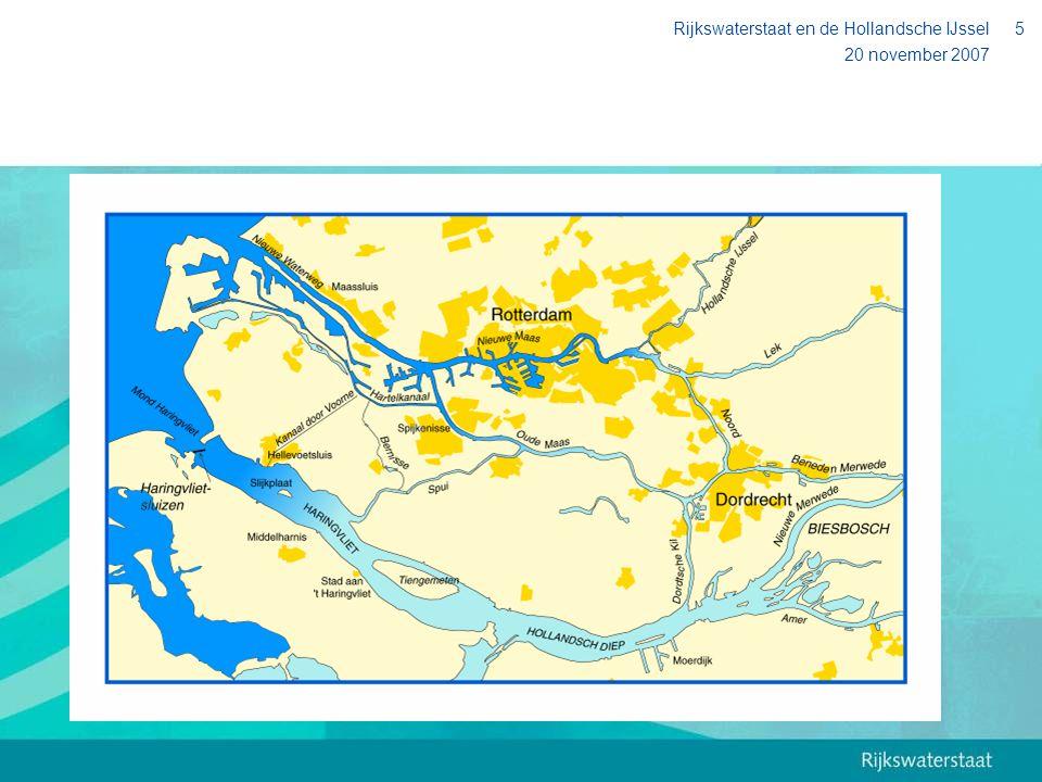 20 november 2007 Rijkswaterstaat en de Hollandsche IJssel6 De Hollandsche IJssel Wateraanvoer naar Midden-West Nederland Waterafvoer vanuit de polders Hoofdvaarweg, staande-mastroute Natuur, recreatie, visserij etc.
