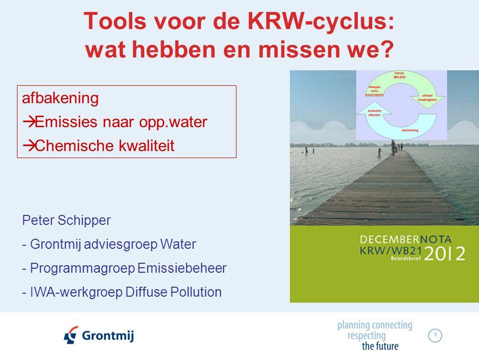 1 Tools voor de KRW-cyclus: wat hebben en missen we? Peter Schipper - Grontmij adviesgroep Water - Programmagroep Emissiebeheer - IWA-werkgroep Diffus