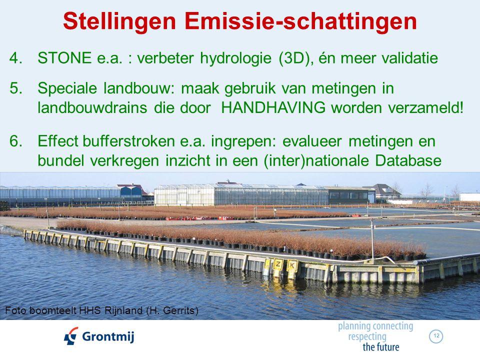 12 4.STONE e.a. : verbeter hydrologie (3D), én meer validatie 5.Speciale landbouw: maak gebruik van metingen in landbouwdrains die door HANDHAVING wor