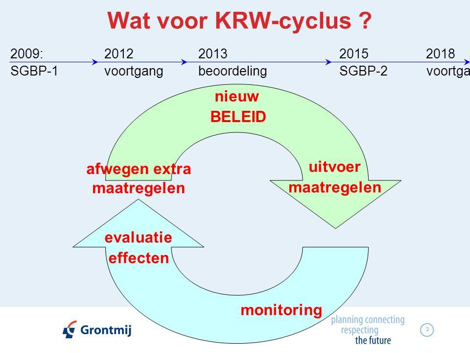 3 Wat voor KRW-cyclus ? 2009:201220132015 2018 SGBP-1voortgangbeoordelingSGBP-2 voortga nieuw BELEID uitvoer maatregelen monitoring evaluatie effecten