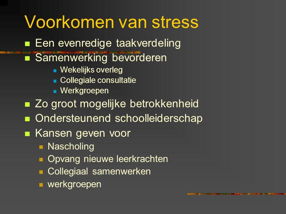 Voorkomen van stress Een evenredige taakverdeling Samenwerking bevorderen Wekelijks overleg Collegiale consultatie Werkgroepen Zo groot mogelijke betr