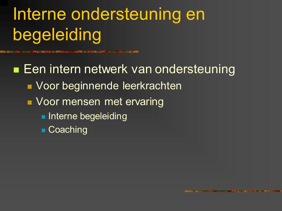 Interne ondersteuning en begeleiding Een intern netwerk van ondersteuning Voor beginnende leerkrachten Voor mensen met ervaring Interne begeleiding Co