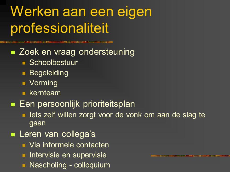 Werken aan een eigen professionaliteit Zoek en vraag ondersteuning Schoolbestuur Begeleiding Vorming kernteam Een persoonlijk prioriteitsplan Iets zel