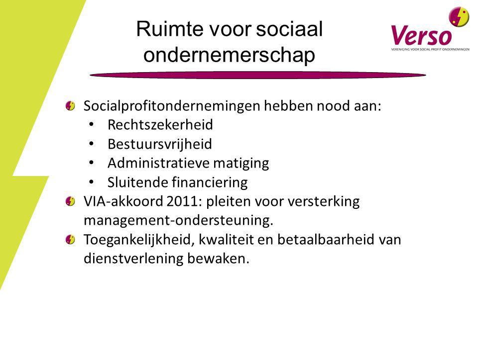 Ruimte voor sociaal ondernemerschap Socialprofitondernemingen hebben nood aan: Rechtszekerheid Bestuursvrijheid Administratieve matiging Sluitende financiering VIA-akkoord 2011: pleiten voor versterking management-ondersteuning.