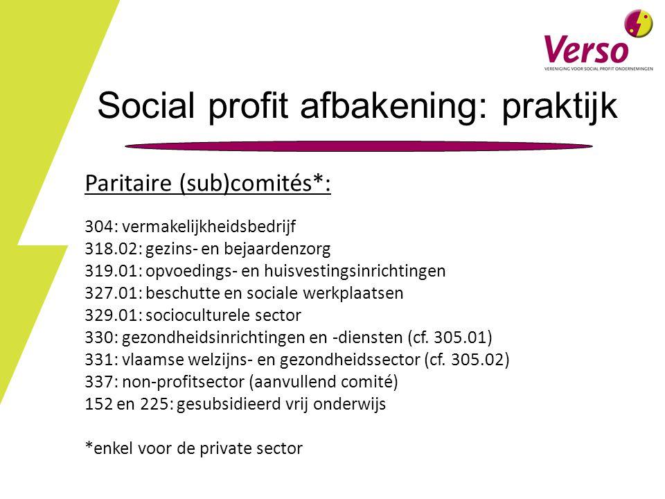 Social profit afbakening: praktijk Paritaire (sub)comités*: 304: vermakelijkheidsbedrijf 318.02: gezins- en bejaardenzorg 319.01: opvoedings- en huisvestingsinrichtingen 327.01: beschutte en sociale werkplaatsen 329.01: socioculturele sector 330: gezondheidsinrichtingen en -diensten (cf.