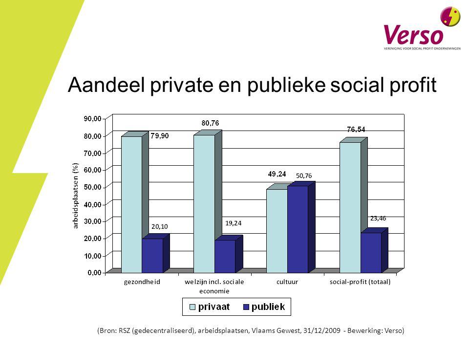 Aandeel private en publieke social profit (Bron: RSZ (gedecentraliseerd), arbeidsplaatsen, Vlaams Gewest, 31/12/2009 - Bewerking: Verso)