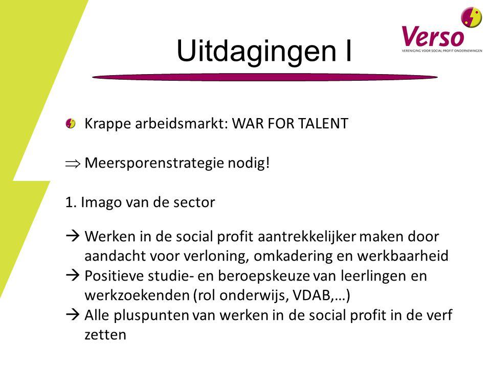 Uitdagingen I Krappe arbeidsmarkt: WAR FOR TALENT  Meersporenstrategie nodig.