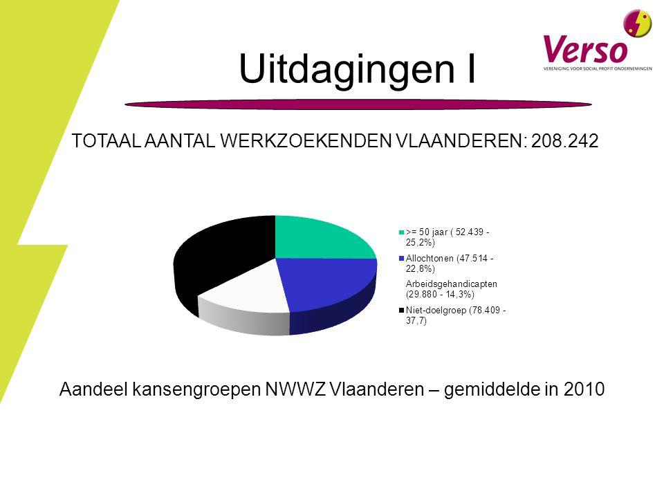 TOTAAL AANTAL WERKZOEKENDEN VLAANDEREN: 208.242 Aandeel kansengroepen NWWZ Vlaanderen – gemiddelde in 2010 Uitdagingen I