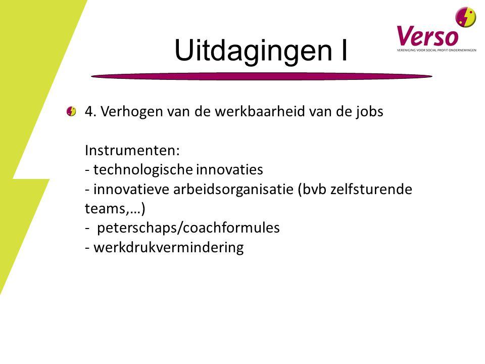 4. Verhogen van de werkbaarheid van de jobs Instrumenten: - technologische innovaties - innovatieve arbeidsorganisatie (bvb zelfsturende teams,…) - pe