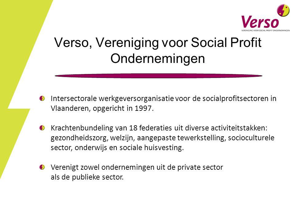 Verso, Vereniging voor Social Profit Ondernemingen Intersectorale werkgeversorganisatie voor de socialprofitsectoren in Vlaanderen, opgericht in 1997.