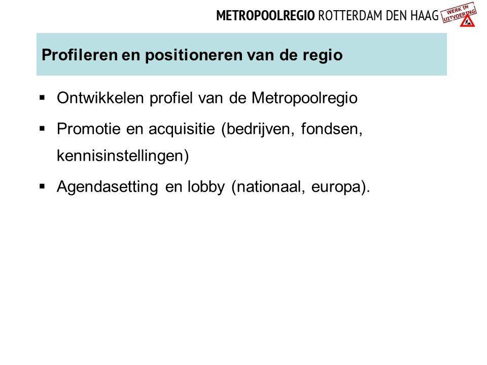 Profileren en positioneren van de regio  Ontwikkelen profiel van de Metropoolregio  Promotie en acquisitie (bedrijven, fondsen, kennisinstellingen)