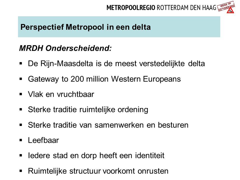 Perspectief Metropool in een delta MRDH Onderscheidend:  De Rijn-Maasdelta is de meest verstedelijkte delta  Gateway to 200 million Western European