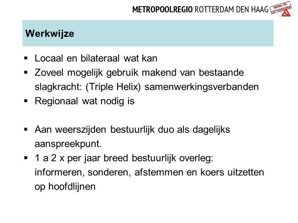 Werkwijze  Locaal en bilateraal wat kan  Zoveel mogelijk gebruik makend van bestaande slagkracht: (Triple Helix) samenwerkingsverbanden  Regionaal
