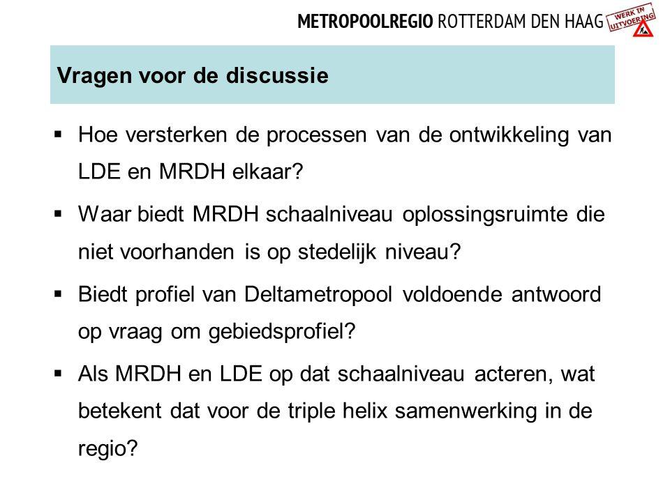 Vragen voor de discussie  Hoe versterken de processen van de ontwikkeling van LDE en MRDH elkaar?  Waar biedt MRDH schaalniveau oplossingsruimte die
