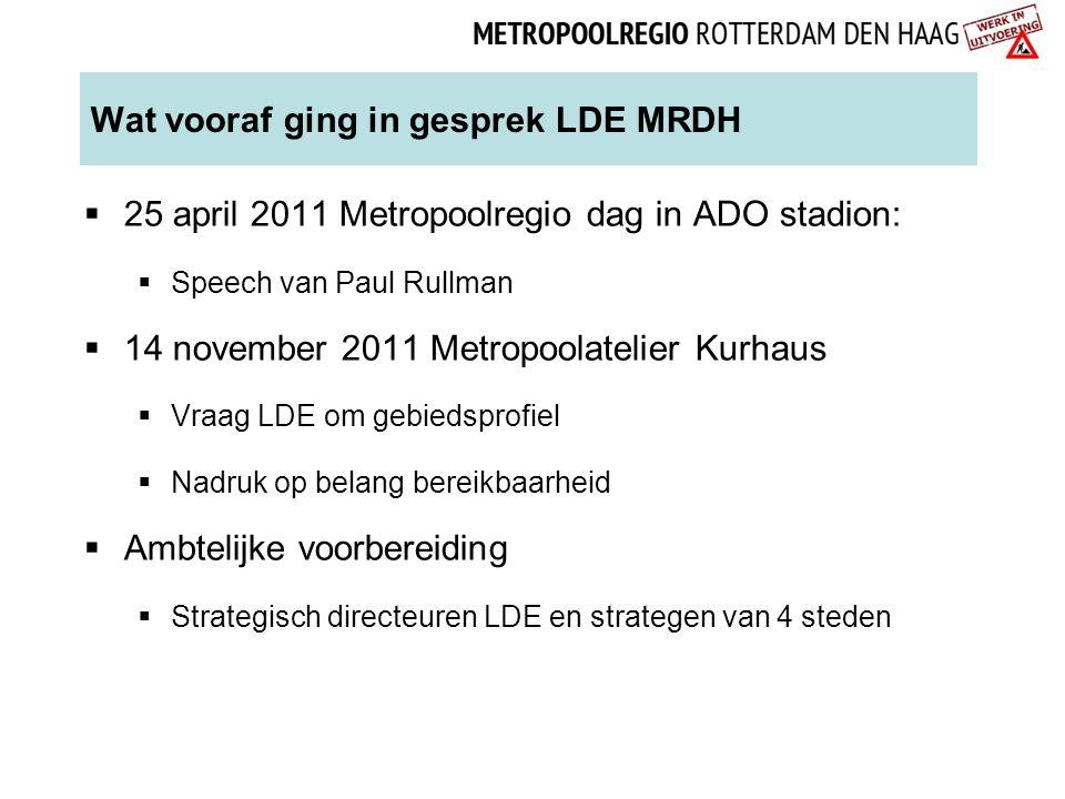 Wat vooraf ging in gesprek LDE MRDH  25 april 2011 Metropoolregio dag in ADO stadion:  Speech van Paul Rullman  14 november 2011 Metropoolatelier K