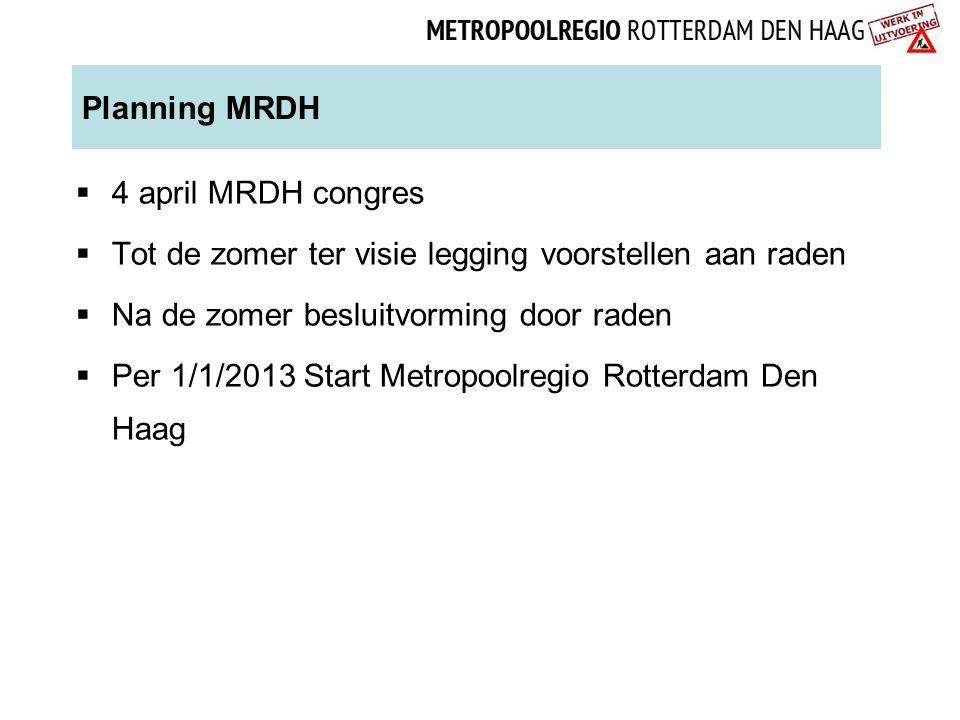 Planning MRDH  4 april MRDH congres  Tot de zomer ter visie legging voorstellen aan raden  Na de zomer besluitvorming door raden  Per 1/1/2013 Sta